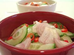 zero point cucumber salad! cant wait for summer to make my own again...minus the red onions...cant do them