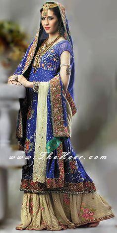 BW6876 Blue And Khaki Banarsi Chiffon Sharara Latest Pakistani Bridal Dresses Pakistani Wedding Wear Pakistani Lehnga Sharara Gharara Suits UK USA Bridal Wear