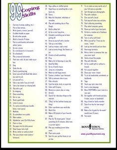 99 Coping Skills! Could think of a bunch of activities to use these in...