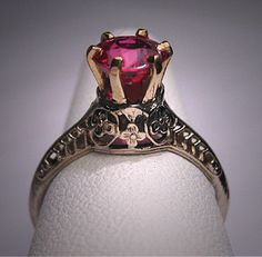 Antique Ruby Wedding Ring Vintage Art Deco by AawsombleiJewelry