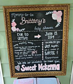 Chalkboard sign at a pink, mint and gold baby shower birthday party! See more party ideas at CatchMyParty.com!