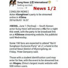 [ ENGLISH NEWS ]  Actor #SungHoon 's party to be streamed online in China.     Thanks to #yonhapnews for English news  http://english.yonhapnews.co.kr/news/2016/06/01/0200000000AEN20160601009900315.html     Sung Hoon International Fanpage:   www.facebook.com/SungHoonBang.FanPage    @sunghoon1983fighting!#방성훈 #成勛#sunghoon1983 #우리동네예체능#coolkizontheblock #신기생뎐#newtalesofgisaeng #신의  #가족의탄생 #보디가드 #고결한그대 #noblemylove #오마이비너스#ohmyvenus