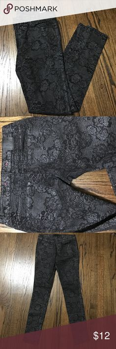 Floral lace skinny jeans This floral lace skinny jeans have a bit of a shimmer to the material. They are also stretchy,so they love your curves. Material Girl Jeans Skinny