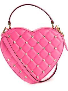 Moschino Swarovski crystal embellished heart shoulder bag.