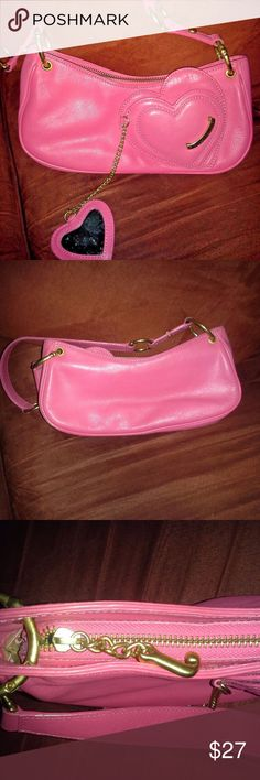 Have one to sell? Sell now Juicy Couture Pink Peb This is a Juicy Couture Pink Pebbled Leather Heart Bag w Mirror, it's in a great condition, very clean. Comes from s smoke free house.  It has a little tiny mark on the handle and the little mirror has some spots as well. Please check all the pictures and if you have any questions, please feel free to contact me.  Thank you for watching and sharing my posts. Juicy Couture Bags Mini Bags