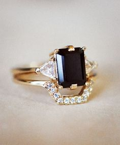 White Diamond Bea Band with the Black Spinel Bea Ring