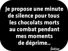 I ask a minute of silence for all the chocolates who died in combat during my low/depressed moments. Best Quotes, Funny Quotes, Quotes About Everything, Quote Citation, French Quotes, Love Messages, Inspirational Quotes, Motivational Quotes, Life Humor