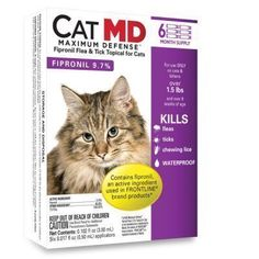 Cat MD Max Defense Flea and Tick Topical for Cats (over 1.5 lbs) - 6 Month Supply * Details can be found by clicking on the image. (This is an Amazon affiliate link)