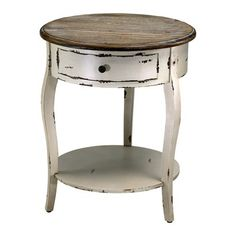 round distressed end table