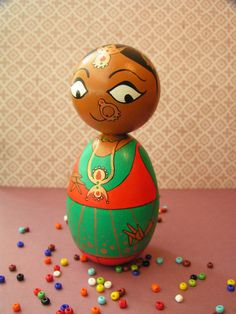 Kathak Dancer - Handpainted Wooden Indian Classical Dance Golu Kokeshi Doll