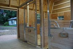 Miniature Horse Barn with sliding stall doors.