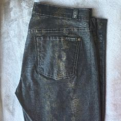 7 for all mankind jeans 7 for all Mankind jeans gold and black coated snake print. Size 29.  Thin, light weight. 7 for all Mankind Jeans Skinny