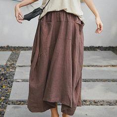Irregular Linen Summer Long Cotton And Linen Loose Skirt Long Skirt Outfits For Summer, Black Skirt Outfits, Dress Outfits, Outfit Summer, Linen Skirt, Denim Mini Skirt, Mini Skirts, Ladies Dress Design, Cotton