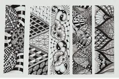 """book marks in the *Zen Tangle* style (AKA """"doodling"""")"""