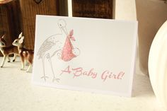 Baby Girl Card - Vintage Stork Illustration (hand finished with a pretty pink glitter overlay) £2.50 by Meezer Meezer Design