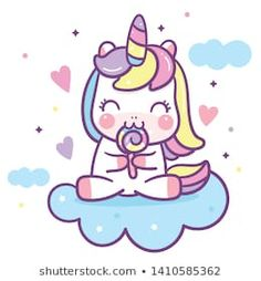 Cute Unicorn vector candy Happy birthday Kawaii pony cartoon, hand drawn isolated on a white background (Pastel pattern): Illustration of fairytale horse- Perfect for kid's greeting card design.