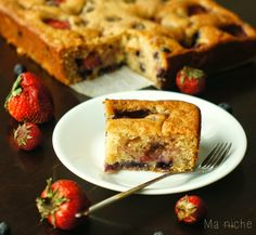 A delicious eggfree coffee cake with strawberries and blueberries