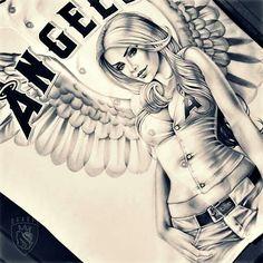 ♥ Chicano Tattoos Sleeve, Body Art Tattoos, Tattoo Drawings, Og Abel Art, Leg Band Tattoos, Behind Ear Tattoos, Mexican Artwork, Cholo Art, Girl Face Drawing