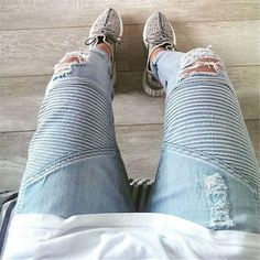 29.98$  Buy here - http://aigmm.worlditems.win/all/product.php?id=32694807877 - Plus Size designer pants blue/black destroyed mens slim denim straight biker skinny jeans men ripped jeans