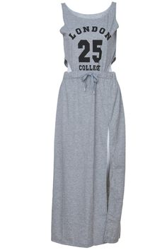 "Cut-out ""London 25 College"" Grey Dress #ROMWE"