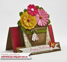 Flower Pot Birthday Card (Splotch Design - Jacquii McLeay Independent Stampin' Up! Fun Fold Cards, Folded Cards, Cricut Cards, Stampin Up Cards, Scrapbooking Halloween, Center Step Cards, Side Step Card, Bday Cards, Shaped Cards