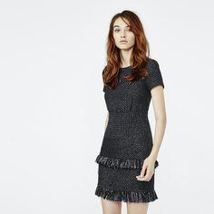 Tơ sống mặc áo khoác váy cotton với rìa - Áo dài - Maje.com
