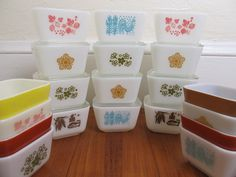 I have a set of Pyrex refrigerator dishes with the blue rooster pattern like the top center one here.  They belonged to my grandma.