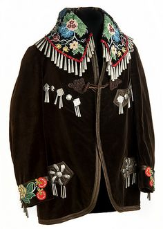 Native American Jingle Cones Beaded Smoking Jacket, given to Stafford King in the early 1920s at his induction into the White Earth Band of Ojibwa. Minnesota Historical Museum.