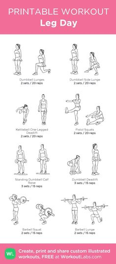 Leg Day:my custom printable workout by WorkoutLabs pair with chest and back day Check more at http://www.dralexjimenez.com/strengthening-the-gluteus-medius-after-an-injury/