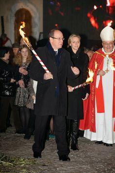 26 JANUARY 2014 Prince Albert and Princess Charlene attended the Sainte-Devote ceremony in Monaco.