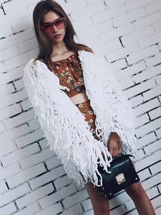 0dce8fef69a Round Neck Weave Knitted Fringed Tassels Loose Short Coat Color White