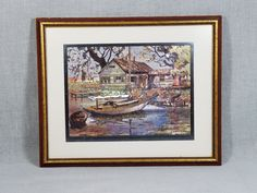 Small Sailboats, Etching Prints, Artist Signatures, Vintage Art Prints, Antique Gold, Drawings, Artwork, Painting, Color