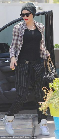 Laid-back: Gwen Stefani looked casual as she visited the nail salon in West Hollywood on Saturday