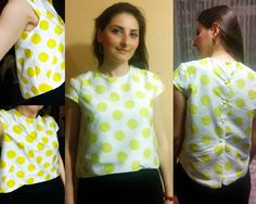 BurdaStyle Cap Sleeve Cropped Top in Yellow Polka Dots