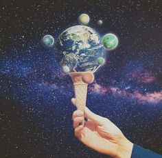 The world on a cone. Planet earth. Ice cream. #surrealart #collage