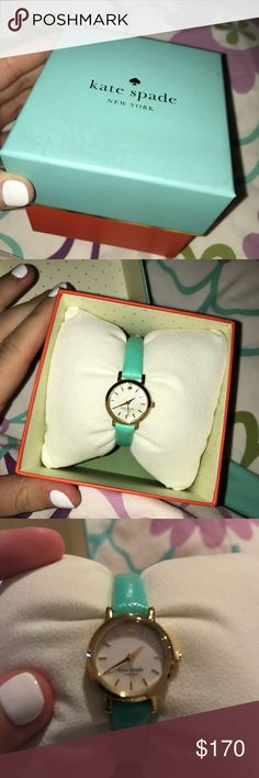 Kate Spade Skinny Watch super cute, skinny leather band watch. mint green band, gold lined with pearl face. tightens in back. comes with box. kate spade Jewelry