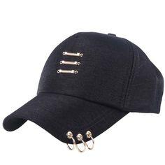 2018 girl women fashion baseball cap with rings pattern solid color 58 Cm  adjustable spring summer cf1ec4ea8c26