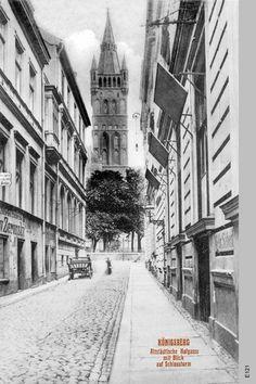 Königsberg (Pr.), Altstädtische Hofgasse mit Blick auf den Schlossturm