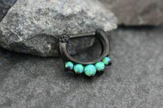 Opal Septum Ring Septum Clicker Opal Daith Piercing by MyBodiArt