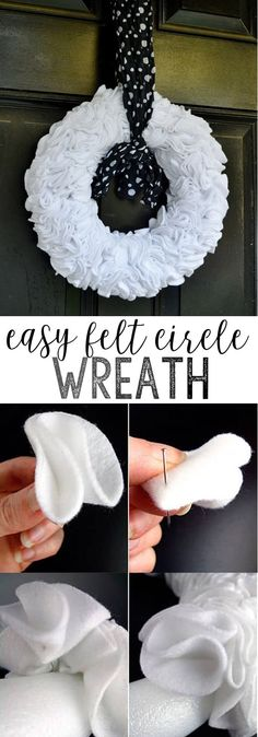 make felt circle wreath Love easy craft idea? This felt circle wreath takes a little bit of time (perfect for your current Netflix binge), but is super easy to make! Perfect for your front door, or anywhere in your home you'd like a bit of ruffly texture! Felt Wreath, Diy Wreath, Wreath Ideas, Wreath Crafts, Flower Crafts, Burlap Wreath, Easy Felt Crafts, Felt Diy, Felt Crafts Patterns