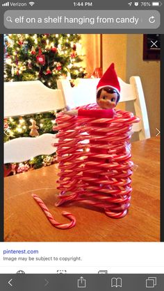 Elf On The Shelf - Candy Canes Magical Christmas, Family Christmas, Christmas Gifts, All Things Christmas, Christmas Time, Xmas Elf, Naughty Christmas, Elf Games, Elf On The Self