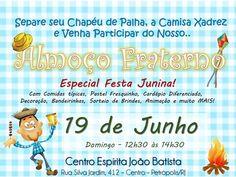 Centro Espírita João Batista Convida para o seu Almoço Fraterno - Especial Festa Junina - Petrópolis - RJ - http://www.agendaespiritabrasil.com.br/2016/06/18/centro-espirita-joao-batista-convida-para-o-seu-almoco-fraterno-especial-festa-junina-petropolis-rj/