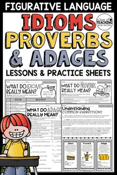 Help your students easily identify and explain the meanings of common idioms, proverbs, and adages with this packet of practice sheets. This practice pack is the perfect tool to use when introducing these language skills to students. The lessons included in this packet are always fun to teach. This product meets the Common Core Standards for L.4.5b and L.5.5b