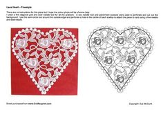 A lace heart in parchment suitable for a range of occasions including Weddings, Anniversaries, Valentine's Day and special birthdays.  There are no instructions for this piece but a full colour photograph is included to help you.