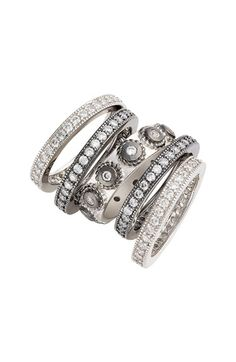 FREIDA ROTHMAN 'Contemporary Deco' Stacking Rings (Set of 5) available at #Nordstrom