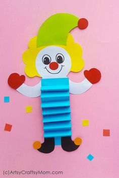 Paper Clown Puppet for Kids + Free Printable Template - - Who doesn't love the circus? Celebrate World Circus Day on April with a cute Paper Clown Craft for Kids – with a free printable template! Circus Crafts Preschool, Circus Activities, Clown Crafts, Carnival Crafts, Puppet Crafts, Activities For Kids, Paper Crafts For Kids, Crafts For Kids To Make, Projects For Kids