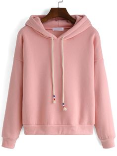 Hooded Drawstring Loose Pink Sweatshirt 13.00