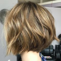 Short Stacked Golden Brown Bob