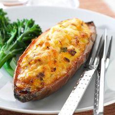 Collect this Corn and Tuna Sweet Potatoes recipe by Australian Eggs. MYFOODBOOK.COM.AU | MAKE FREE COOKBOOKS