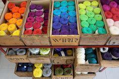 Old drawers used as a #yarn organizer #DIY